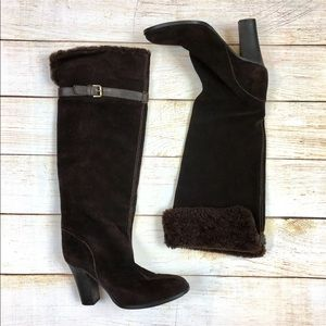J Crew Italy shearling cuff suede boots sz 7